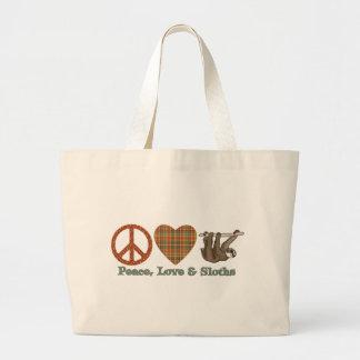 Peace, Love & Sloths Large Tote Bag