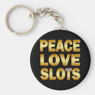 PEACE LOVE SLOTS BASIC ROUND BUTTON KEY RING