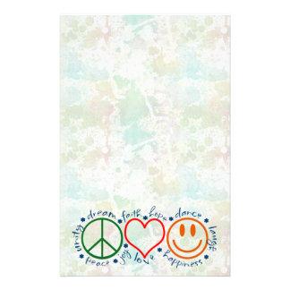 Peace Love Smile Custom Stationery