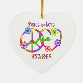 Peace Love Snakes Ceramic Heart Decoration