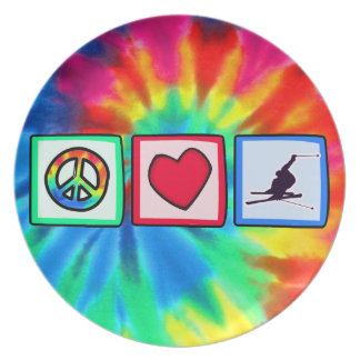 Peace, Love, Snow Skiing Plate