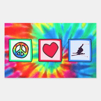 Peace, Love, Snow Skiing Rectangular Sticker