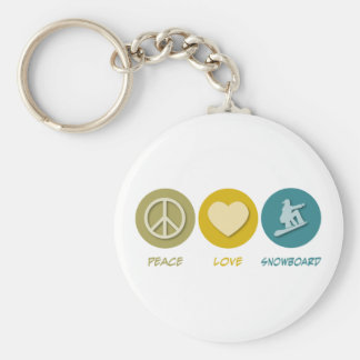 Peace Love Snowboard Basic Round Button Key Ring