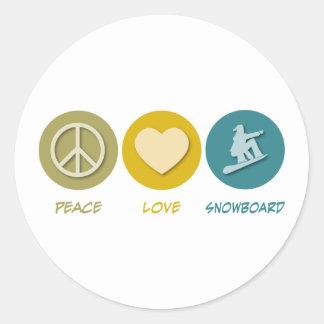 Peace Love Snowboard Round Stickers