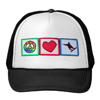 Peace, Love, Snowboarding Cap