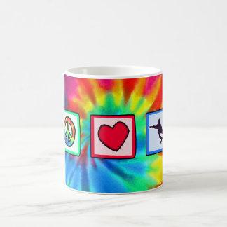 Peace, Love, Snowboarding Coffee Mug