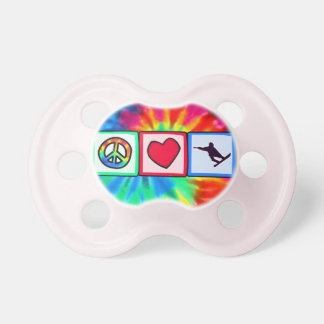 Peace Love Snowboarding Baby Pacifiers