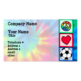 Peace, Love, Soccer Business Card Templates