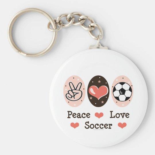 Peace Love Soccer Key Chain