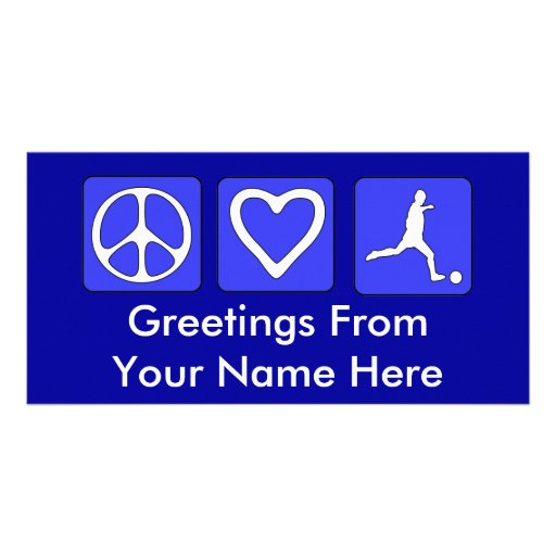 Peace Love Soccer Photo Card Template