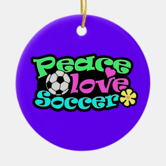 Peace, Love, Soccer; Retro Christmas Ornament