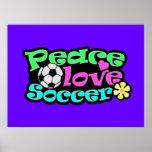 Peace, Love, Soccer; Retro Poster