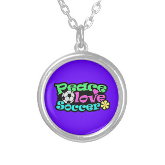 Peace, Love, Soccer; Retro Silver Plated Necklace