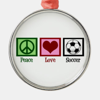 Peace Love Soccer Silver-Colored Round Decoration