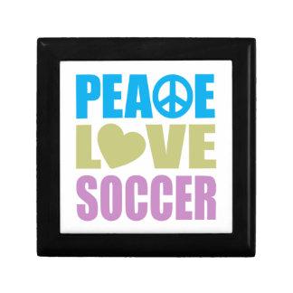 Peace Love Soccer Small Square Gift Box