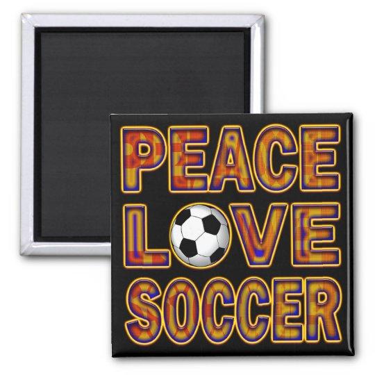 PEACE LOVE SOCCER SQUARE MAGNET