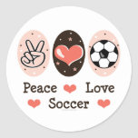 Peace Love Soccer Sticer Round Stickers