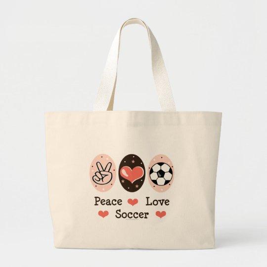 Peace Love Soccer Tote Bag
