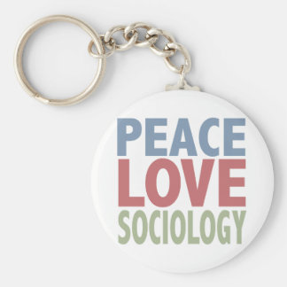 Peace Love Sociology Basic Round Button Key Ring