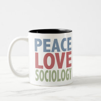 Peace Love Sociology Two-Tone Coffee Mug