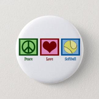 Peace Love Softball 6 Cm Round Badge