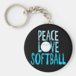 Peace, Love, Softball Basic Round Button Key Ring