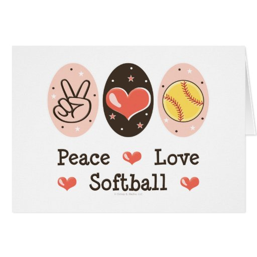 Peace Love Softball Blank Greeting Card