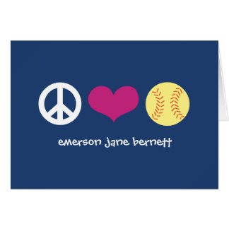 Peace, Love, Softball Blue Card
