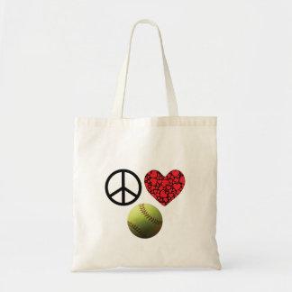 Peace Love Softball Budget Tote Bag