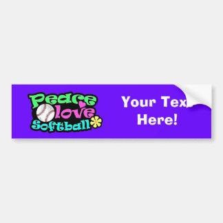 Peace, Love, Softball Bumper Sticker