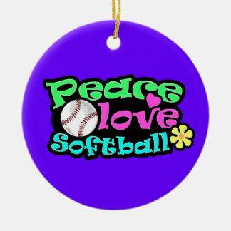 Peace, Love, Softball Christmas Ornament