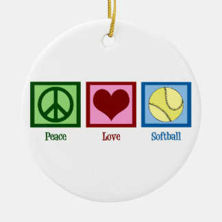 Peace Love Softball Christmas Ornament