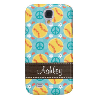 Peace Love Softball  Galaxy S4 Case