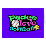 Peace, Love, Softball Greeting Card
