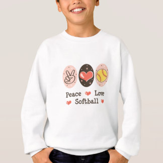 Peace Love Softball Kids Sweatshirt
