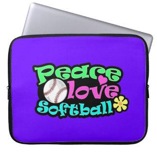 Peace, Love, Softball Laptop Sleeve
