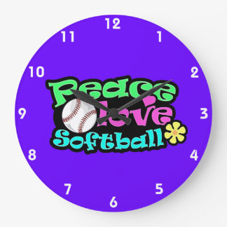 Peace, Love, Softball Large Clock