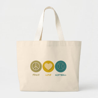 Peace Love Softball Large Tote Bag