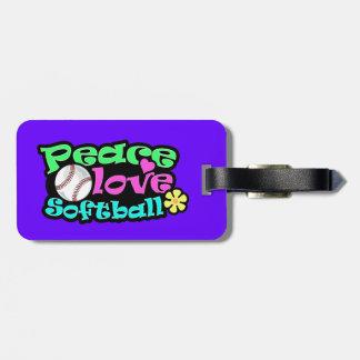 Peace, Love, Softball Luggage Tag