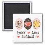 Peace Love Softball Magnet