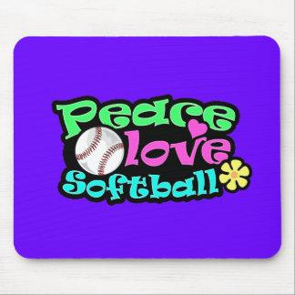 Peace, Love, Softball Mouse Mat