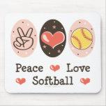 Peace Love Softball Mousepad