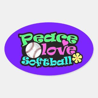 Peace, Love, Softball Oval Sticker