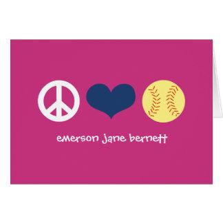 Peace, Love, Softball Pink Card