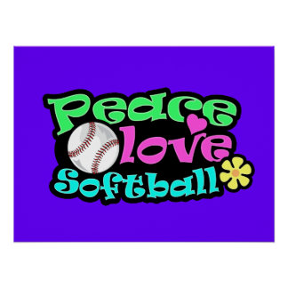 Peace, Love, Softball Poster
