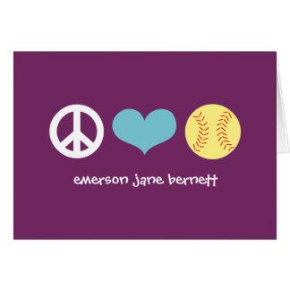 Peace, Love, Softball Purple Card