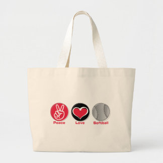 Peace Love Softball red Large Tote Bag