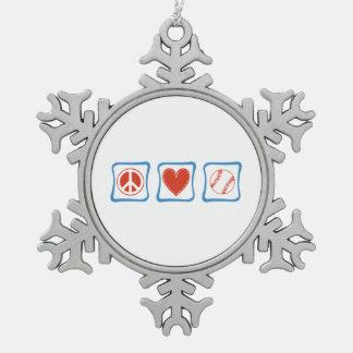 Peace Love Softball Squares Snowflake Pewter Christmas Ornament