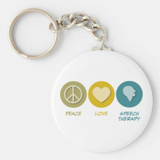 Peace Love Speech Therapy Basic Round Button Key Ring
