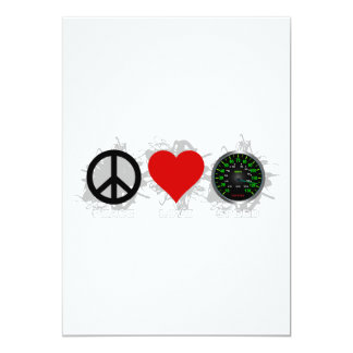 Peace Love Speed  Emblem 1 13 Cm X 18 Cm Invitation Card